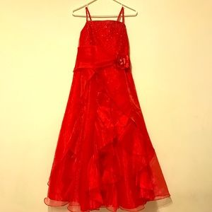 Other - Long Red Girl's Size 14 Christmas Dress